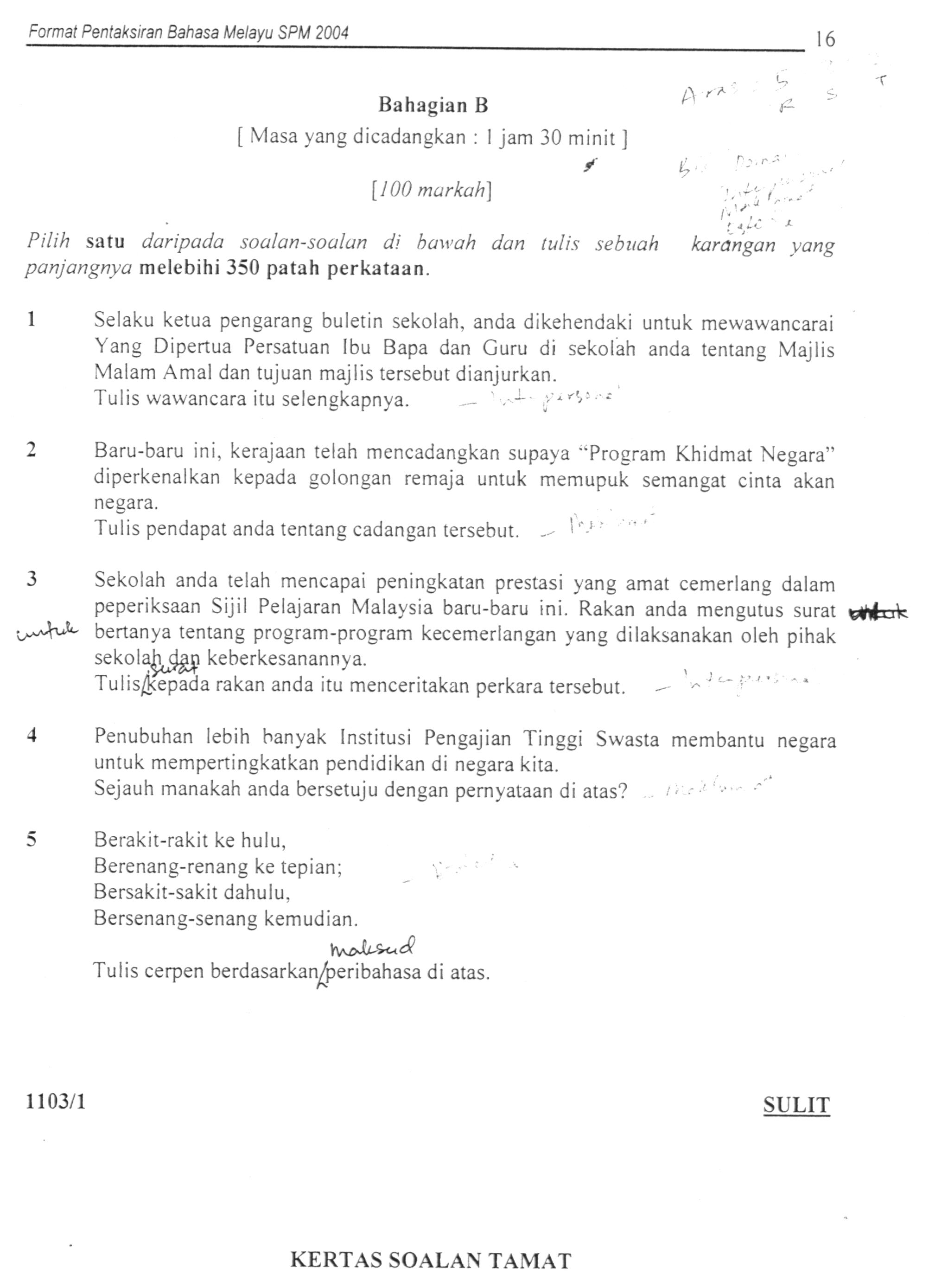 Contoh Karangan Spm Bahasa Melayu Surat Tidak Rasmi Rasmi Ru